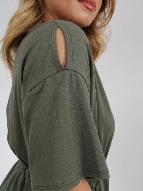 Close up of shoulder of Cilento Woman T-Shirt Dress in Khaki Green