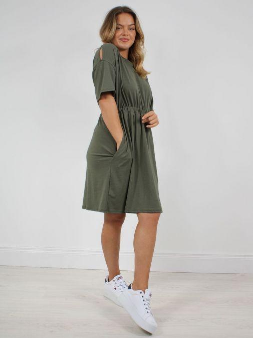 alternative photo of model wearing Cilento Woman T-Shirt Dress in Khaki Green