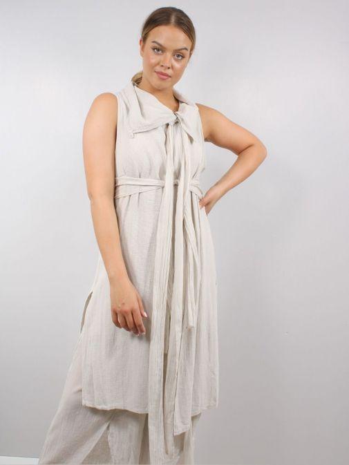 Model wearing Cilento Woman Tie Detail Tunic in Beige
