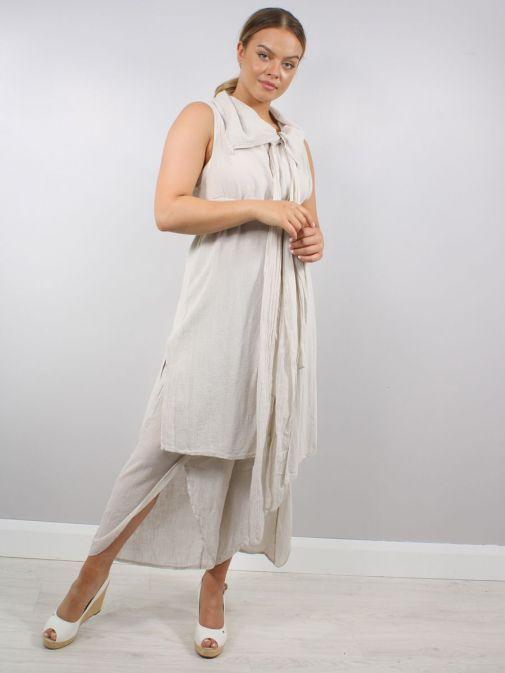 Full shot of model wearing Cilento Woman Tie Detail Tunic in Beige