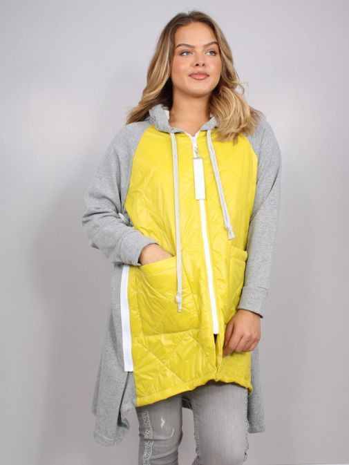 Model wearing Cilento Woman Zip Up Hooded Jacket in Yellow and Grey
