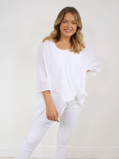 Front shot of the Cilento Women Button Top White featuring batwing sleeve, button fastening and round neckline