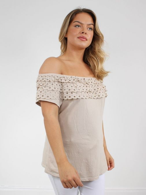 Side shot of the Cilento Women Off The Shoulder Top in the Beige colour featuring off the shoulder design and Broderie Anglaise frilled detailing