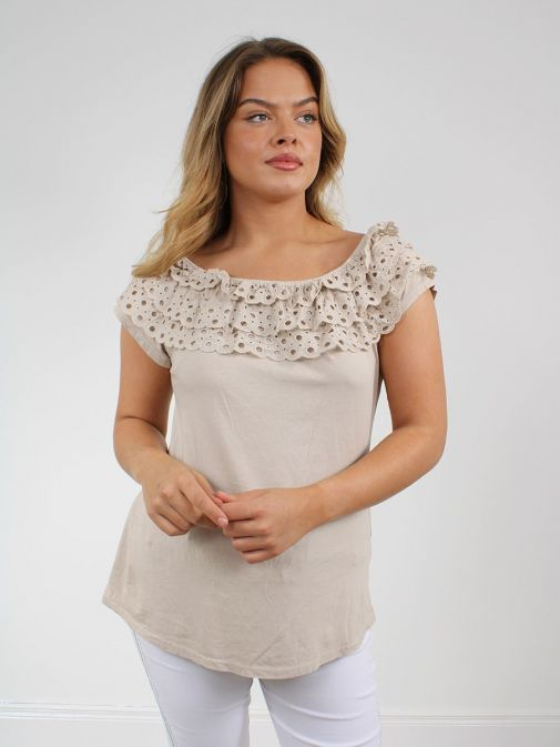 front shot of the Cilento Women Off The Shoulder Top in the Beige colour featuring off the shoulder design and Broderie Anglaise frilled detailing