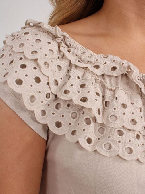 closeup shot of the Cilento Women Off The Shoulder Top in the Beige colour featuring off the shoulder design and Broderie Anglaise frilled detailing