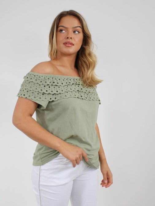 Front shot of the Cilento Women Off The Shoulder Top in the Green featuring Broderie Anglaise frilled detailing and off the shoulder design
