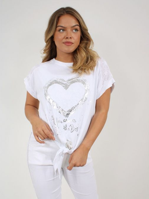 Front shot of the Cilento Women Silver Heart Detail Top in the White featuring heart detail, short sleeves, rounded neckline
