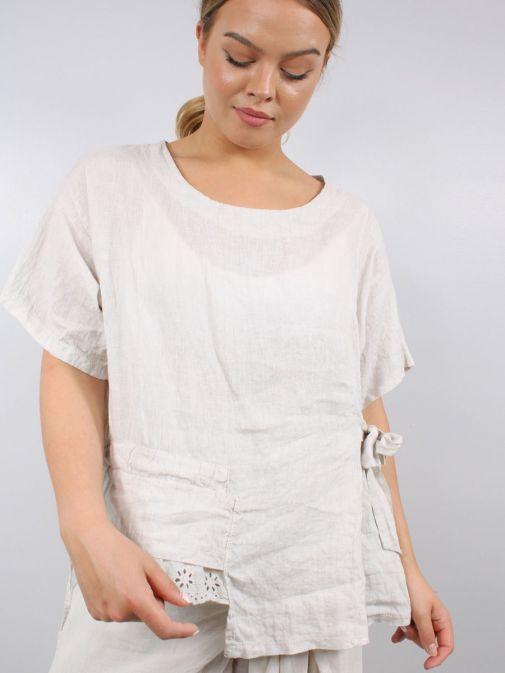 Model wearing Cilento Woman Linen Top in Beige