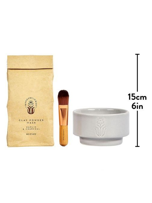 Front shot of the Clay Face Mask Kit with measurements