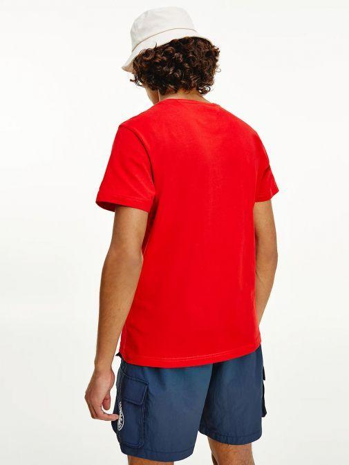 Tommy Jeans Mens Deep Crimson Organic Cotton Bold Logo T-Shirt Dm0dm10243/Xnl-Red