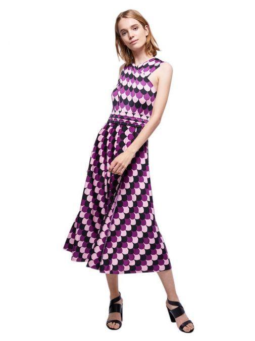 Model wearing Emme By Marella Patterned Midi Dress in Purple