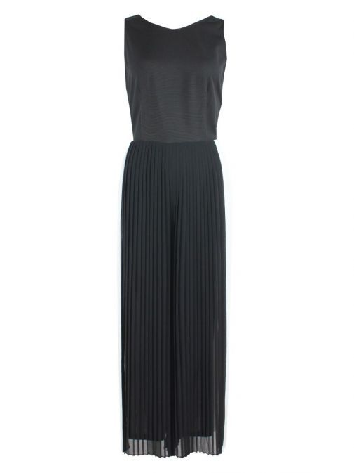 Front shot of Emme By Marella Pleated Jumpsuit in Black and White