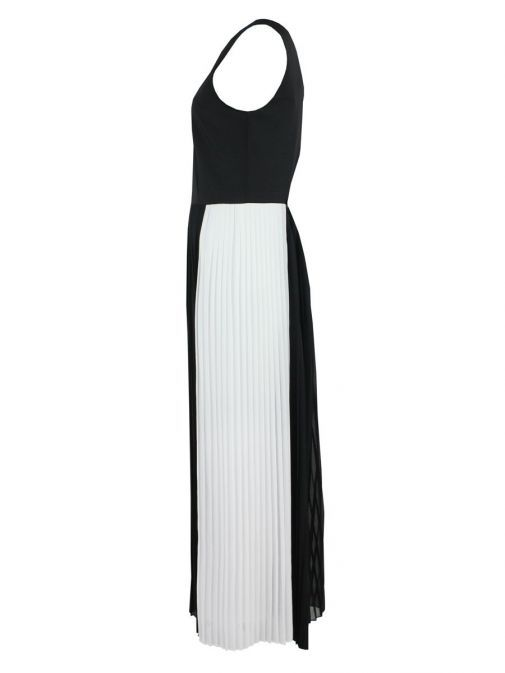 Side shot of Emme By Marella Pleated Jumpsuit in Black and White