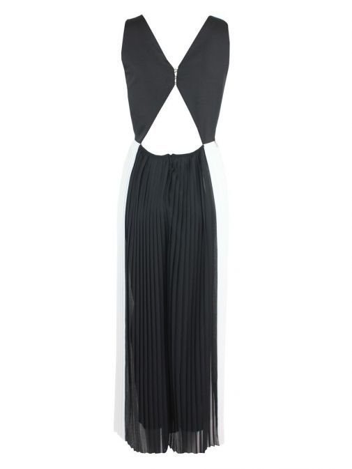 Back shot of Emme By Marella Pleated Jumpsuit in Black and White