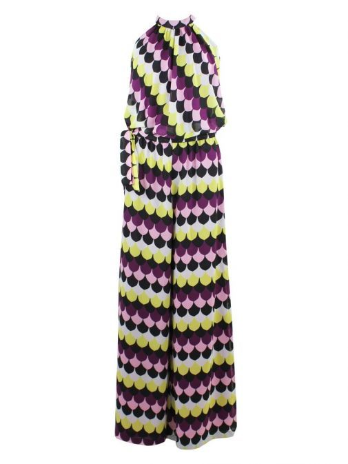 Front shot of Emme By Marella Print Jumpsuit in Purple