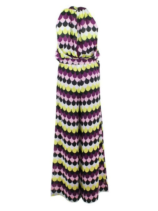 Back shot of Emme By Marella Print Jumpsuit in Purple