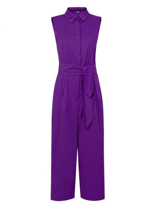 Front shot of Emme By Marella Sleeveless Culotte Jumpsuit in Purple