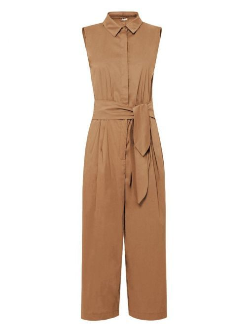 Front shot of Emme By Marella Sleeveless Culotte Jumpsuit in Taupe