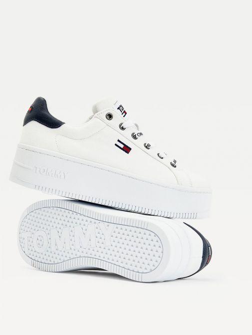 Tommy Jeans Ladies White Iconic Essential Flatform Trainers En0en01358/Ybr-White