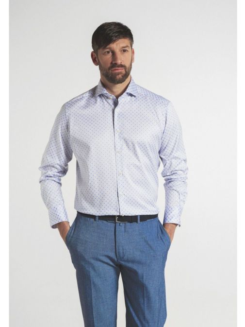 Front model shot of the Eterna 1863 Modern Fit Printed Shirt in the Blue featuring soft collar, long sleeves and printed design
