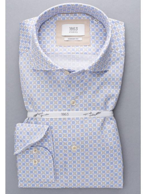 Front shot of the Eterna 1863 Modern Fit Printed Shirt in the Blue featuring soft collar, long sleeves and printed design