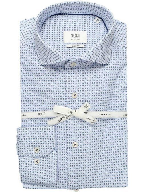 Front shot of the Eterna 1863 Modern Fit Shirt in the Blue colour featuring hard collar, button fastening and printed design