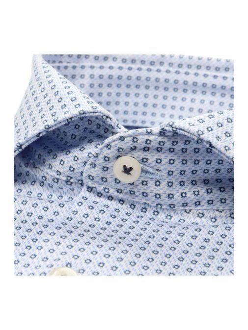 closeup shot of the Eterna 1863 Modern Fit Shirt in the Blue colour featuring hard collar, button fastening and printed design