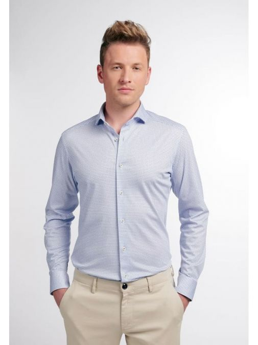 Front model shot of the Eterna 1863 Modern Fit Shirt in the Blue colour featuring hard collar, button fastening and printed design