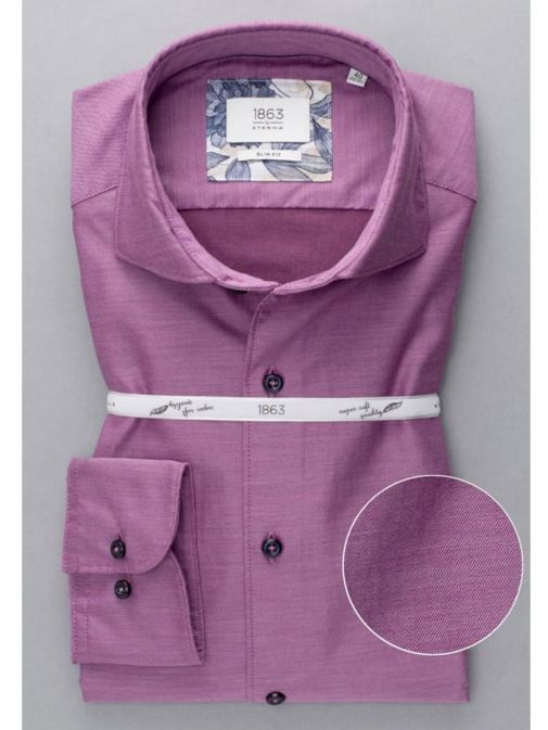 Front shot Eterna 1863 Slim Fit Shirt in the Purple colour featuring button fastening, long sleeves