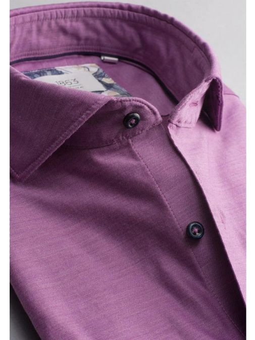 closeup shot Eterna 1863 Slim Fit Shirt in the Purple colour featuring button fastening