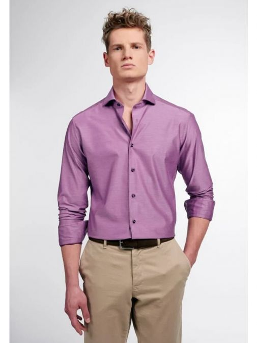 Front model shot Eterna 1863 Slim Fit Shirt in the Purple colour featuring button fastening, long sleeves