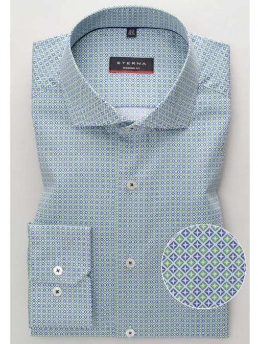 Front shot of the Eterna Modern Fit Printed Shirt in the Green colour featuring long sleeves, printed design and button fastening