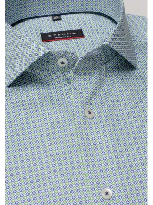 Closeup shot of the Eterna Modern Fit Printed Shirt in the Green colour featuring long sleeves, printed design and button fastening