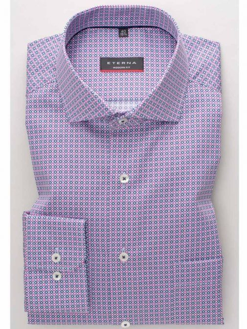 Front shot of the Eterna Modern Fit Printed Shirt Multi-Coloured featuring hard collar, button fastening and long sleeves