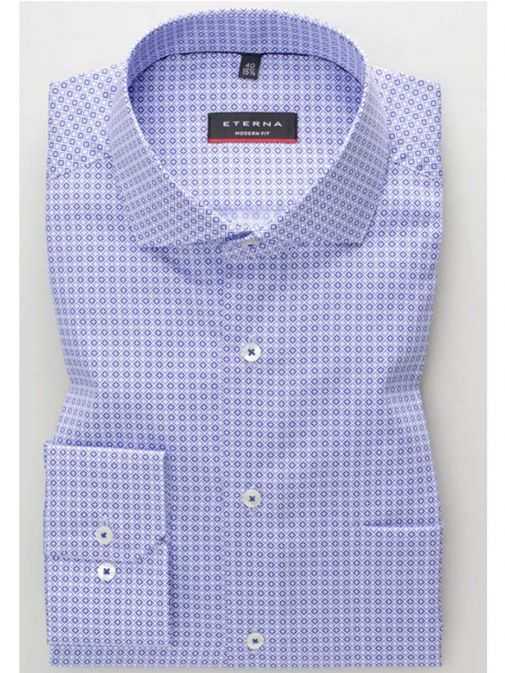 Front shot of the Eterna Modern Fit Printed Shirt in the Purple colour featuring printed design, button fastening and hard collar.