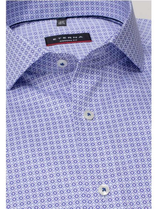 closeup shot of the Eterna Modern Fit Printed Shirt in the Purple colour featuring printed design, button fastening and hard collar.