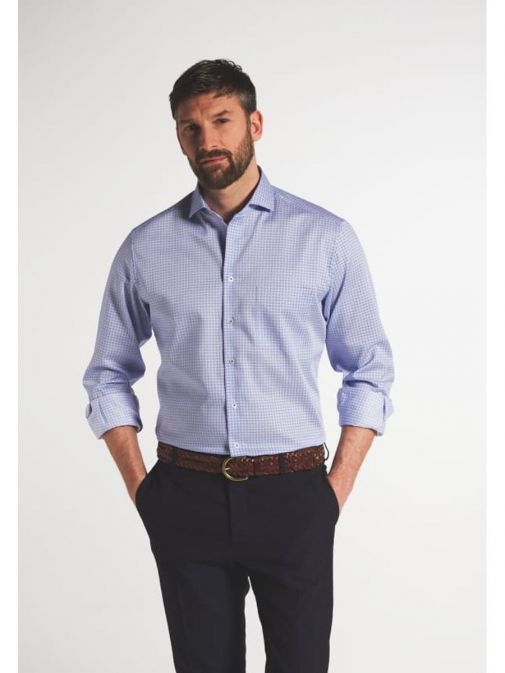 Front model shot of the Eterna Modern Fit Printed Shirt in the Purple colour featuring printed design, button fastening and hard collar.