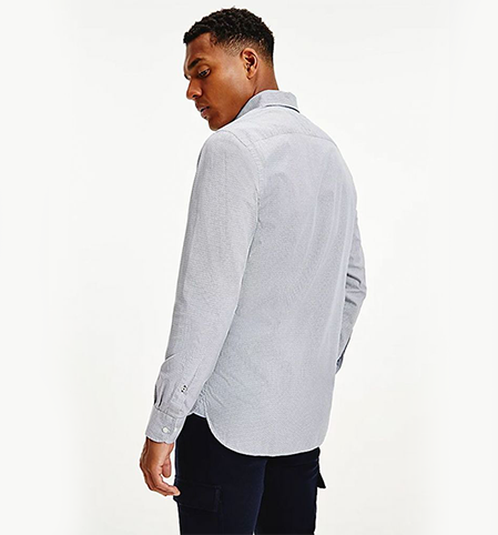 Tommy Hilfiger Geometric Print Regular Organic Cotton Shirt Navy