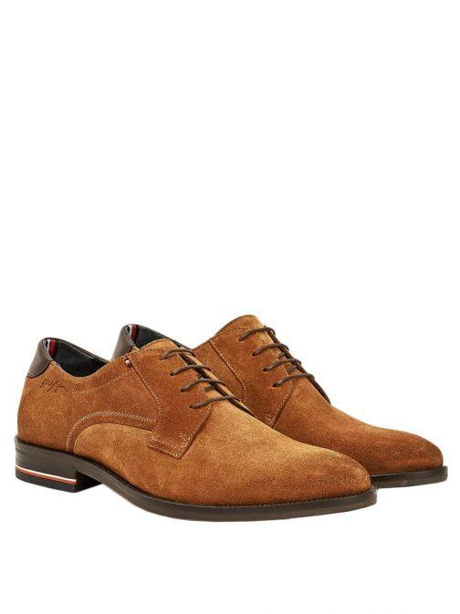 Tommy Hilfiger Mens Winter Cognac Signature Logo Suede Lace-Up Shoes Fm0fm03114/Gvi-Brown