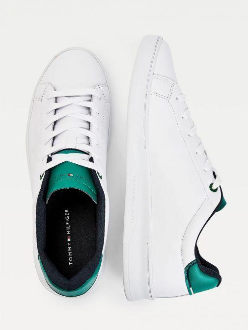 Tommy Hilfiger White Nouveau Green Retro Leather Tennis Trainers Fm0fm03276/0K7-White