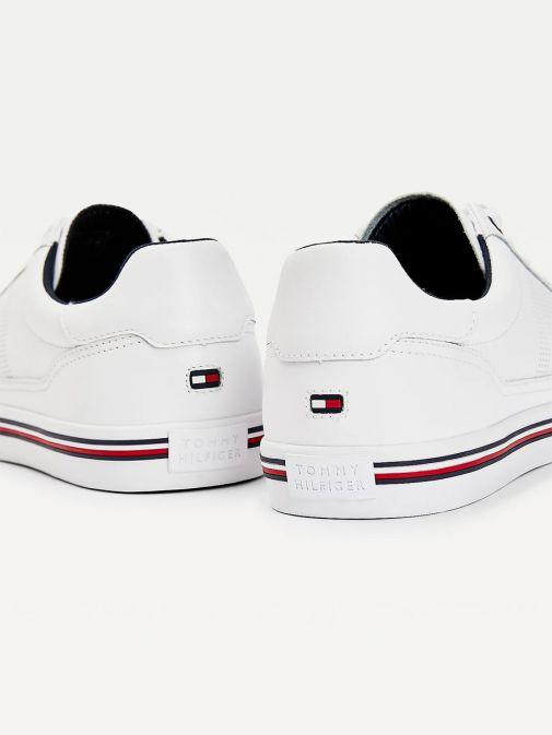 Tommy Hilfiger Men White Signature Outsole Leather Trainers Fm0fm03393/Ybr-White