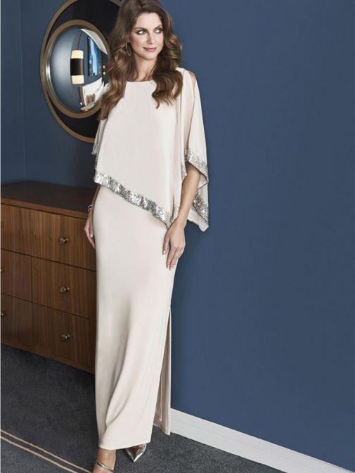 Model wearing Frank Lyman Sequin Evening Dress in Silver Beige, Style 198171