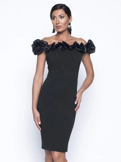 Model wearing Frank Lyman Off Shoulder Dress with Ruffle in Black, Style 199105