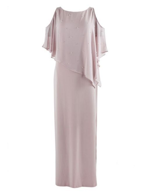 Front shot of Frank Lyman Pearl Detail Long Dress in Rose, Style 189144