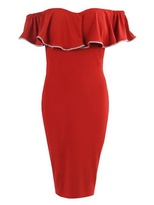 Front shot of Frank Lyman Off the Shoulder Ruffle Dress in Lipstick Red, Style 195025