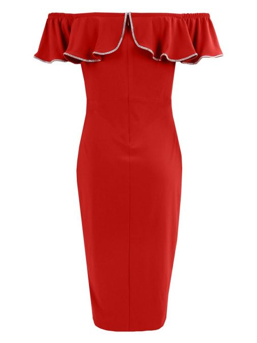 Back shot of Frank Lyman Off the Shoulder Ruffle Dress in Lipstick Red, Style 195025