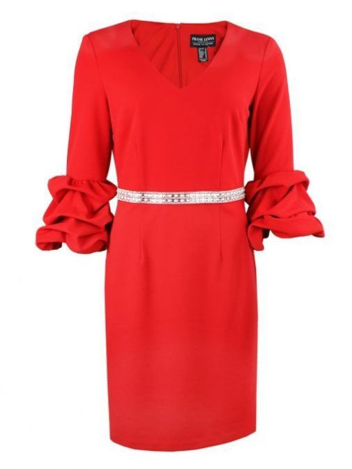 Front shot of Frank Lyman Ruffle Sleeve Pearl Detail Dress in Red, Style 195277