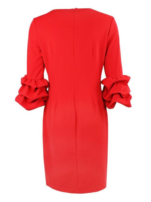 Back shot of Frank Lyman Ruffle Sleeve Pearl Detail Dress in Red, Style 195277