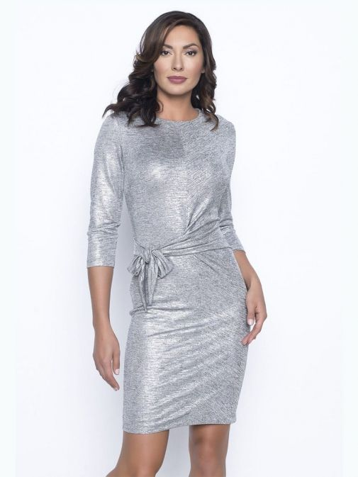Model wearing Frank Lyman Tie Waist Dress in Silver, Style 195430