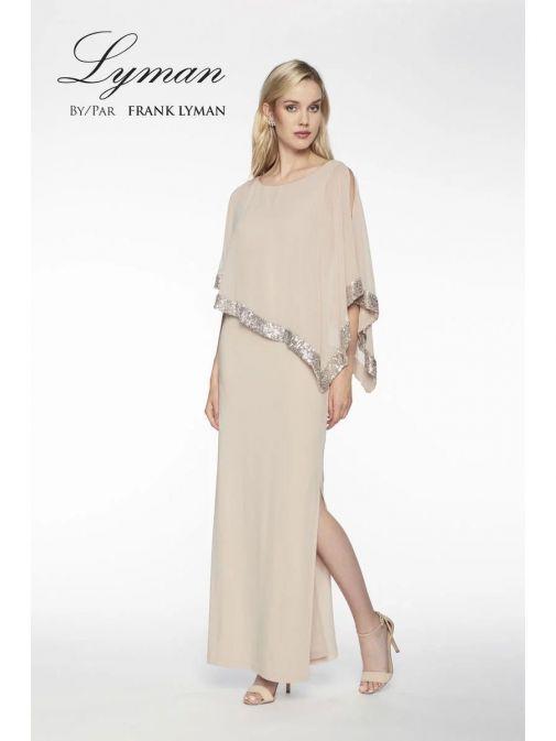 Alternative Model wearing Frank Lyman Sequin Evening Dress in Silver Beige, Style 198171